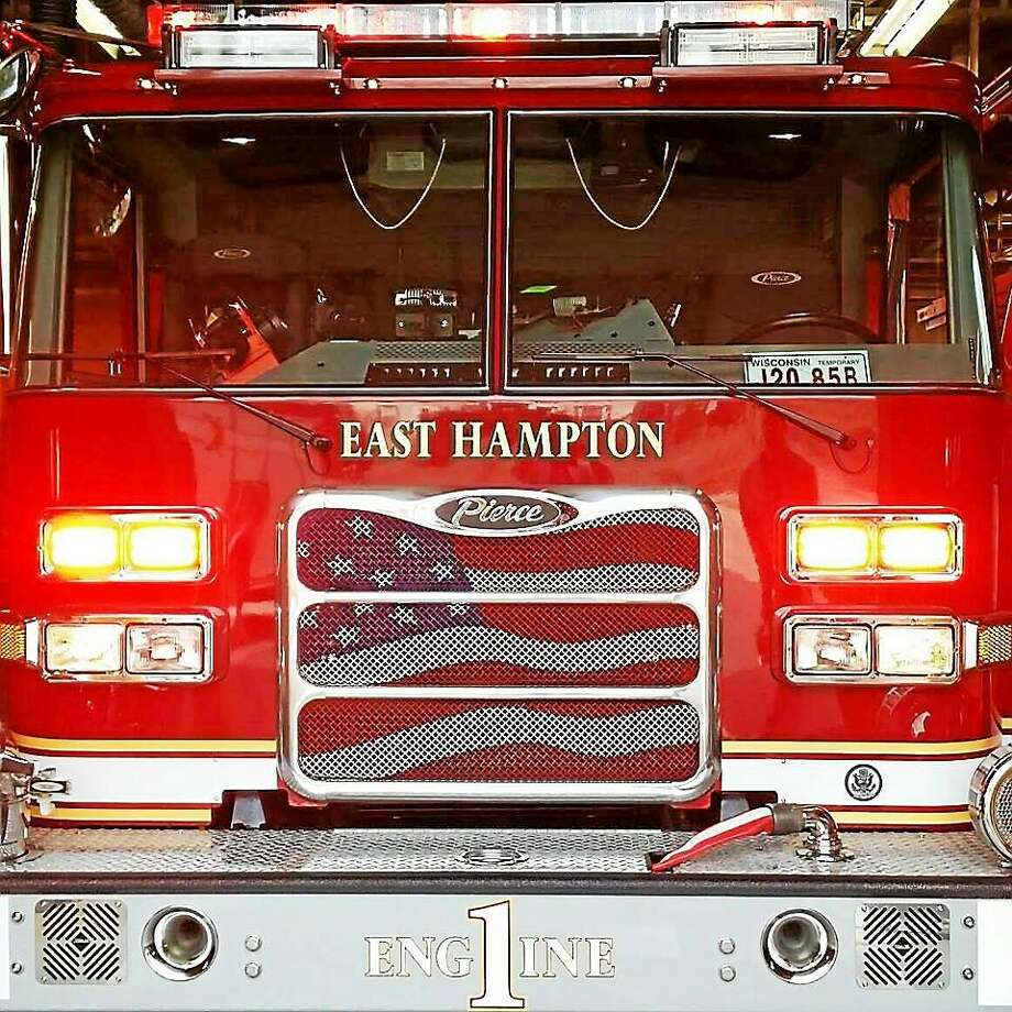 Courtesy East Hampton Fire  A large fire at 501 Moodus Road in East Hampton destroyed a home  Thursday morning. Photo: Courtesy East Hampton Fire