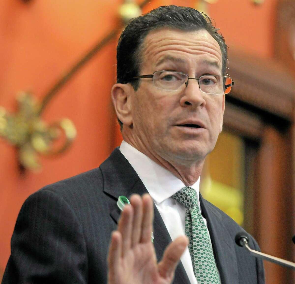 File photo: Gov. Dannel P. Malloy addresses the CT legislature in his biennial budget address.