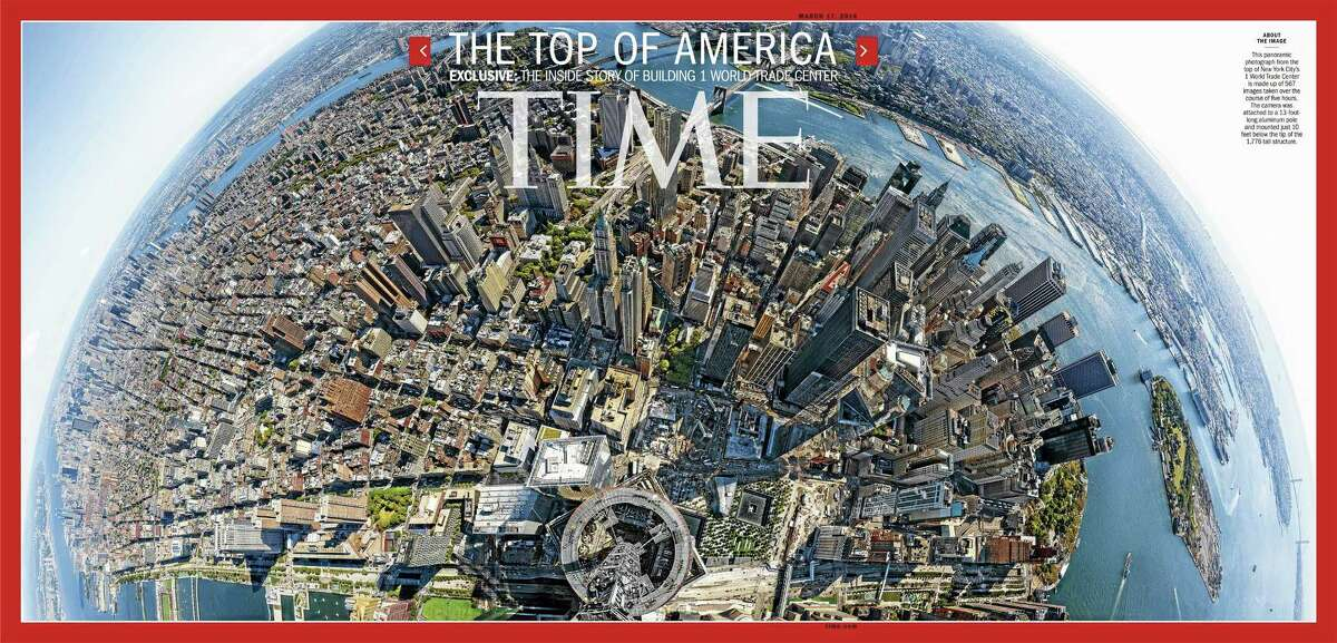 This image, provided by Time Inc., shows the cover of the March 17, 2014, issue of Time Magazine, featuring a panoramic photo taken from atop 1 World Trade Center in New York. The image is made up of 567 images taken over the course of five hours and stitched together. The camera was attached to a 13-foot long aluminum pole and mounted just 10 feet below the tip of the 1,776-foot structure.