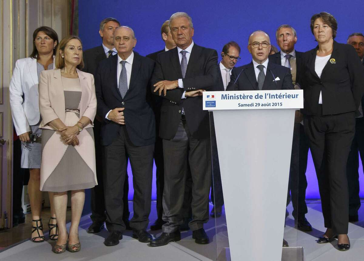 From left, Spainís Transport Minister Ana Pastor, Spain's Interior Minister Jorge Fernandez Diaz, European Commissioner for Home Affaires Dimitris Avramopjoulos, French Interior Minister Bernard Cazeneuve, European Commissioner for Transport Violeta Bulc during a joint statement after the emergency meeting in Paris, France, Saturday, Aug. 29, 2015. European security and transport chiefs held an emergency meeting Saturday in Paris to reconsider train security after passengers thwarted an Islamic extremist attack on a high-speed train from Amsterdam to Paris.