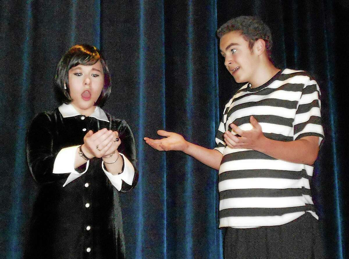 Photo by Nick Bensen Zachary Herz as Pugsley and Elena Thornton as Wednesday in the AHS Theatre production of The Addams Family, April 24-26 at Avon High School.
