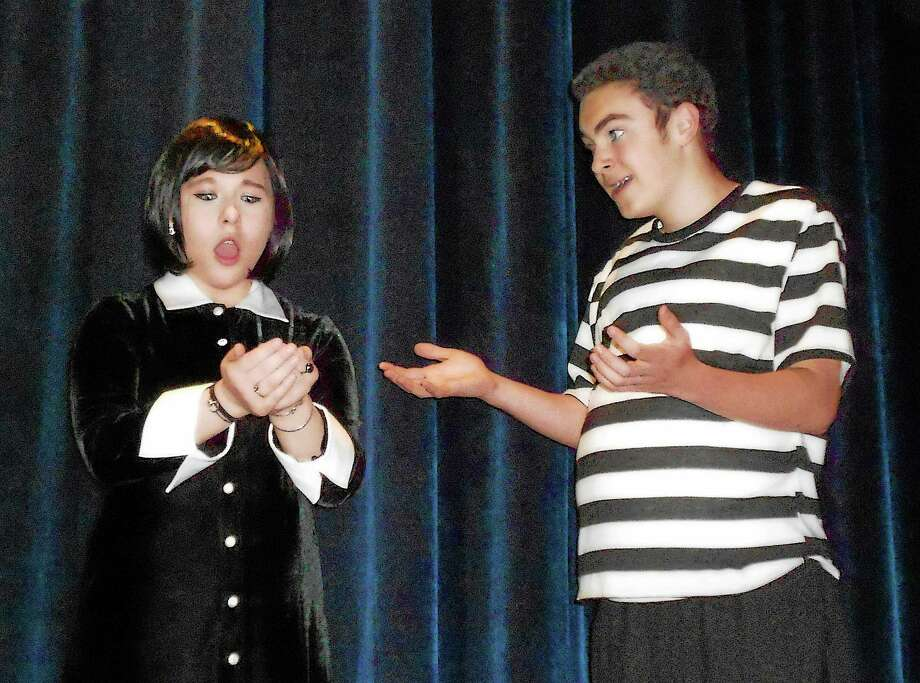 Photo by Nick Bensen Zachary Herz as Pugsley and Elena Thornton as Wednesday in the AHS Theatre production of The Addams Family, April 24-26 at Avon High School. Photo: Journal Register Co.