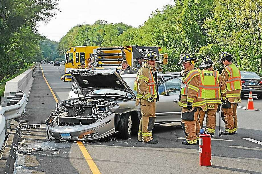 The driver of a sedan lost control of his vehicle Aug. 22 on Route 9 in Haddam Photo: Courtesy Olivia Drake