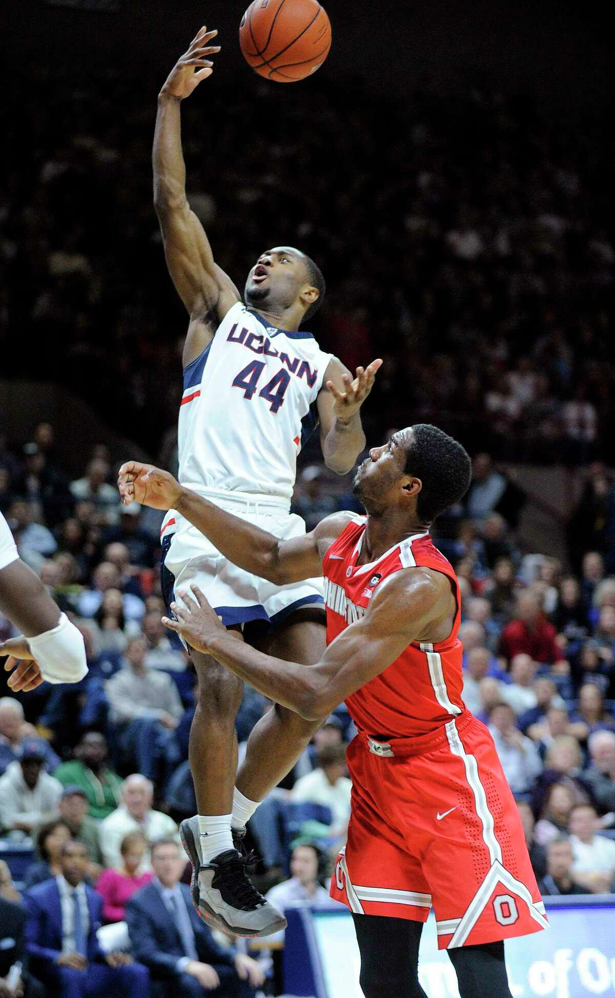 UConn's Rodney Purvis (44) has scored in double figure in each of the Huskies' nine games this season.