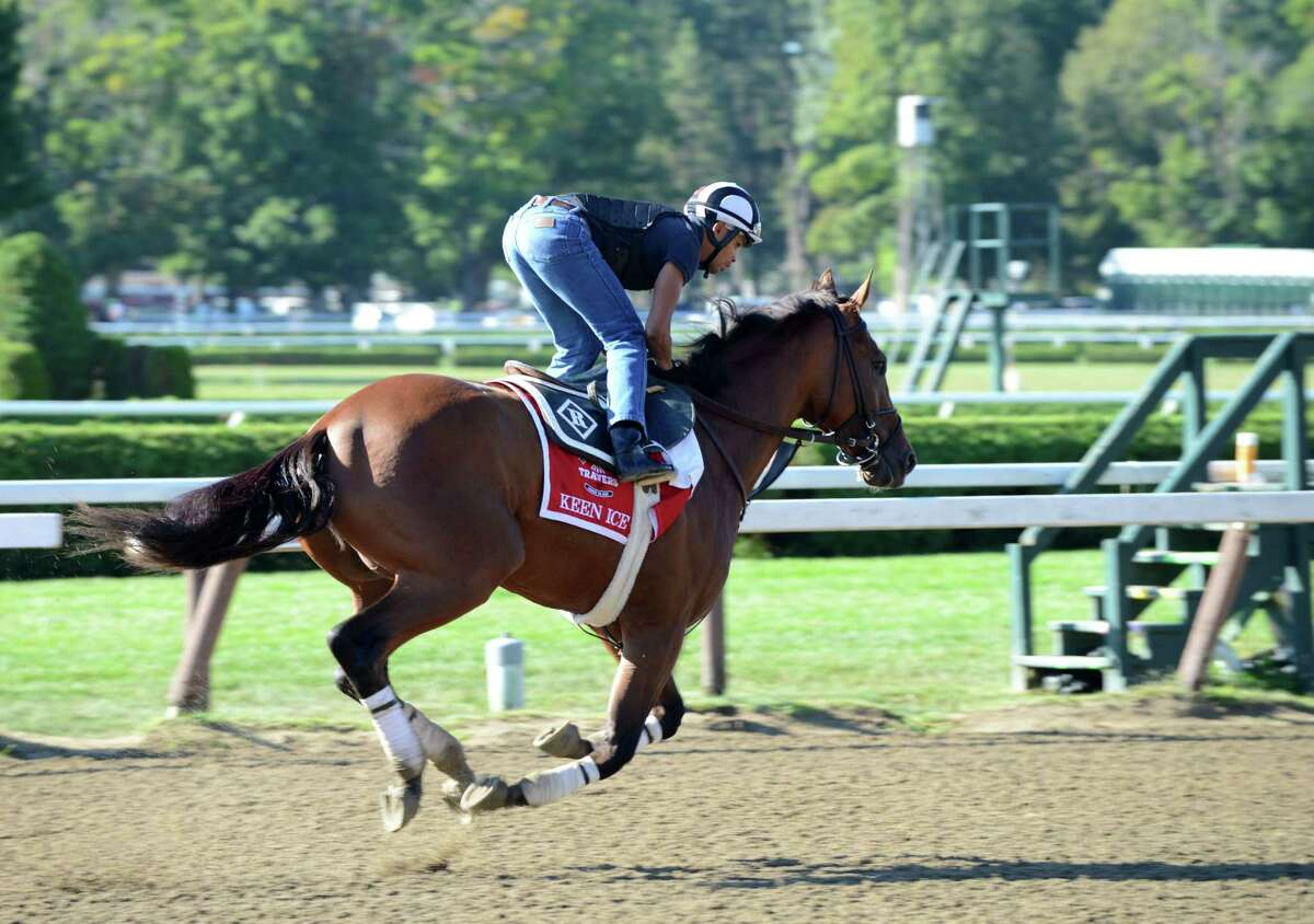 Travers Stakes entrant Keen Ice works out Friday at Saratoga Race Course in Saratoga Springs, N.Y.