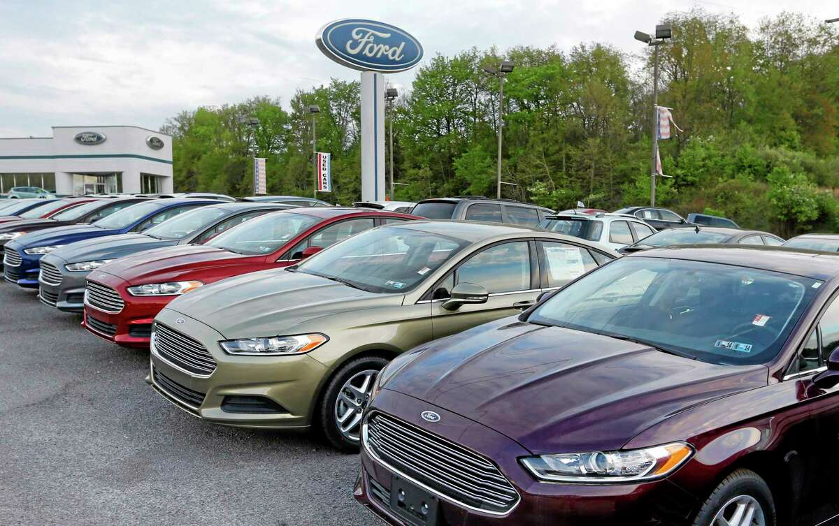 Ford Fusions are seen at an automobile dealer in Zelienople, Pennsylvania.