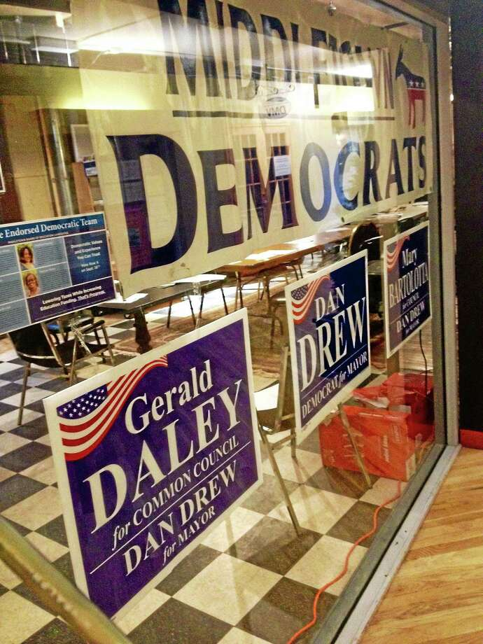 Middletown Democratic headquarters is in the Main Street Market walking mall. Photo: Cassandra Day — The Middletown Press