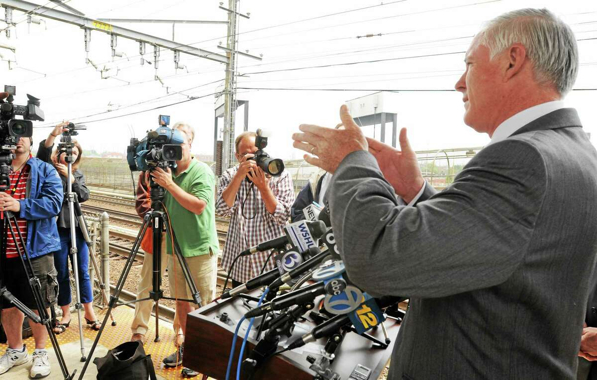 Bridgeport Mayor Bill Finch talks during a press conference on May, 29, 2013.