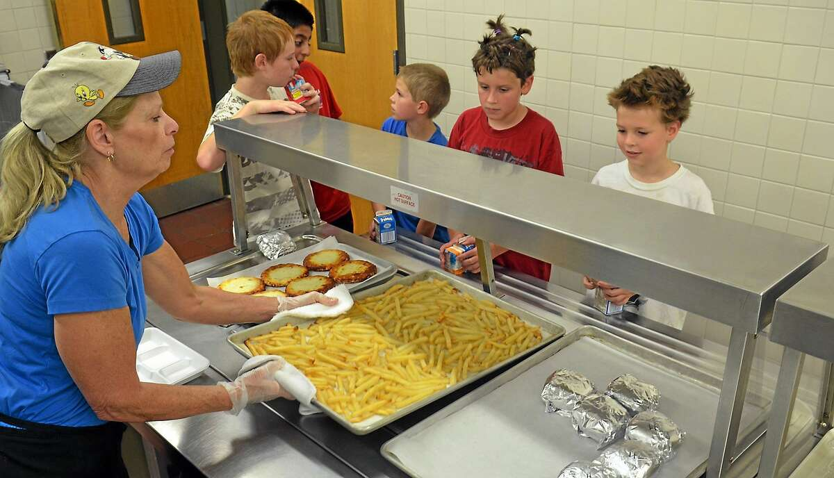 Lunch is served at an elementary school in this 2012 file photo.