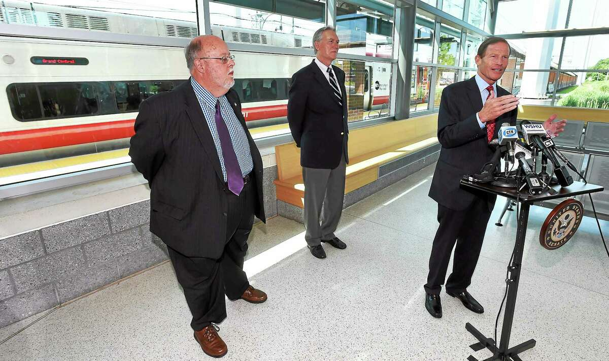 US Senator Richard Blumenthal held a press conference at the West Haven train station, with James Cameron of the Commuter Action Group, left and John Hartwell of the CT Rail Commuter Council, center, to announce proposed rail safety legislation.