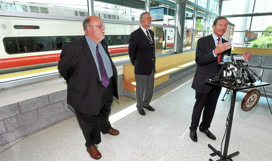 US Senator Richard Blumenthal held a press conference at the West Haven train station, with James Cameron of the Commuter Action Group, left and John Hartwell of the CT Rail Commuter Council, center, to announce proposed rail safety legislation. Photo: Mara Lavitt/New Haven Register  / Mara Lavitt