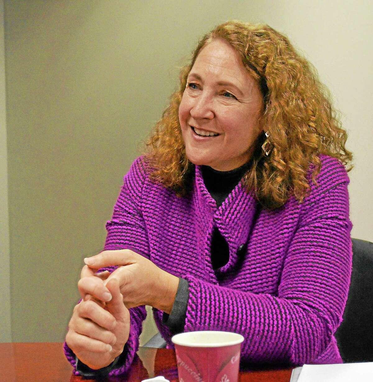 Elisabeth Esty talks with Register Citizen editors, Dec. 5.