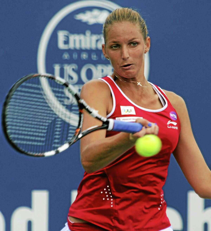 Karolina Pliskova hits a return to Lesia Tsurenko in their quarterfinal match Thursday at the Connecticut Open in New Haven.