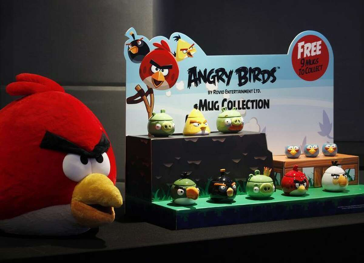 Angry Birds products are displayed during a news conference in Hong Kong.