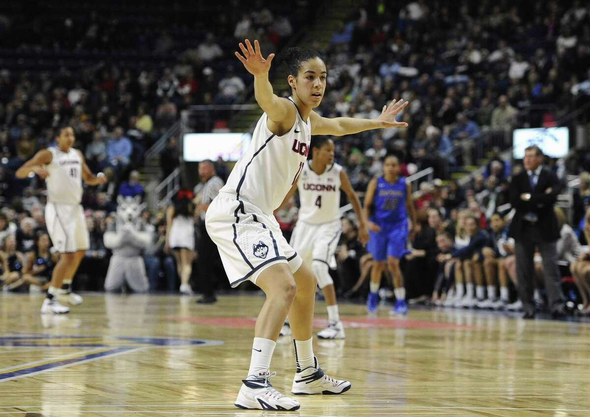 UConn's Kia Nurse guards a DePaul player during the second half of the Huskies' 98-64 win on Friday in Bridgeport.