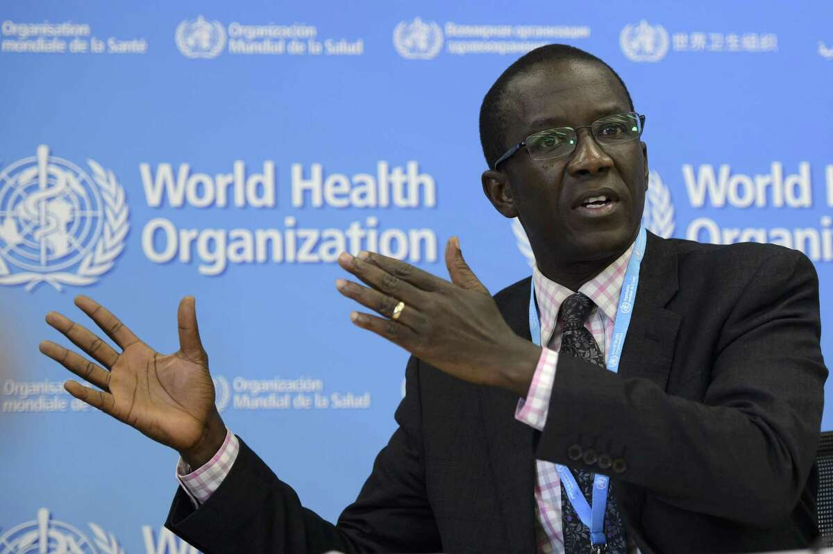 Sierra Leone's Minister of Health and Sanitation Abu Bakarr Fofanah speaks during the press conference following a high level meeting on building resilient systems for health in Ebola affected countries, at the headquarters of the World Health Organization, WHO, in Geneva, Switzerland, Thursday, Dec. 11, 2014. (AP Photo/Keystone, Martial Trezzini)