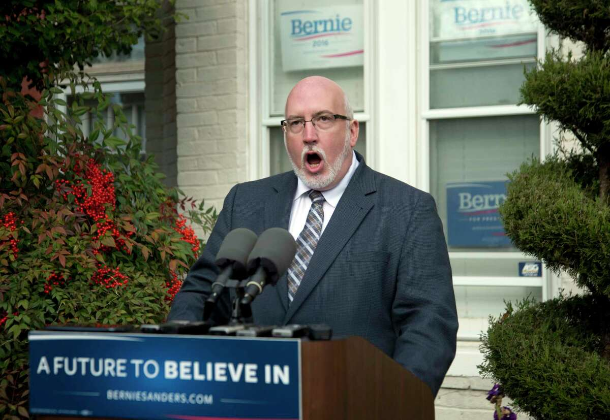 """Sen. Bernie Sanders' campaign manager Jeff Weaver, speaks during a news conference at the Bernie 2016 Campaign Office in Washington, Friday, Dec. 18, 2015. The DNC acted this week after members of Sanders' campaign staff improperly searched and saved information maintained in the database by the campaign of 2016 rival Hillary Clinton. Weaver says the Democratic National Committee is """"actively attempting to undermine"""" Sanders' White House bid."""