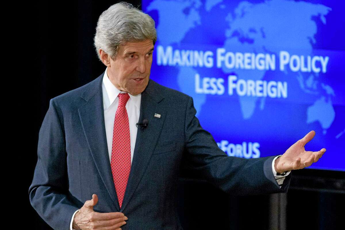 Secretary of State John Kerry speaks about foreign policy, including the situation in Ukraine, during a town hall meeting with university students, Tuesday, March 18, 2014, at the State Department in Washington. (AP Photo/Jacquelyn Martin)