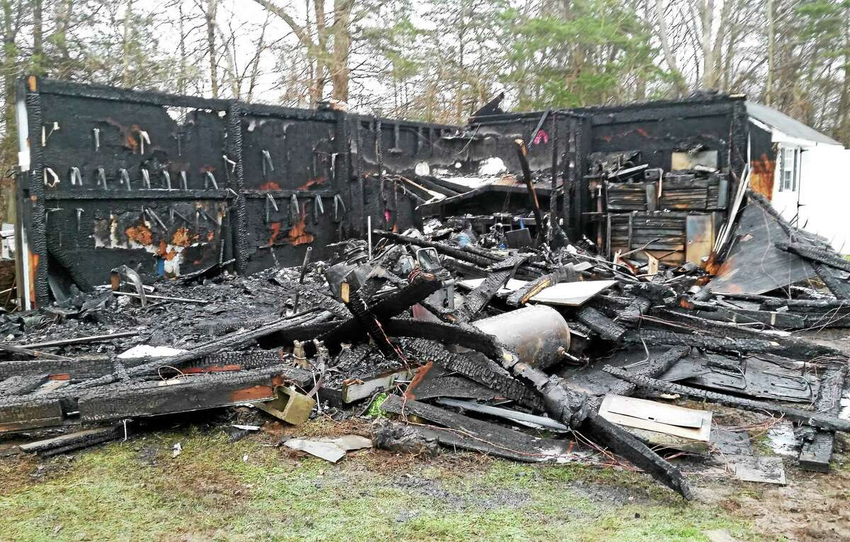 A blaze tore through an outbuilding used as a tool shed at 416 Atkins Road in Middletown early Thursday morning. Firefighters had the flames extinguished within 20 to 30 minutes.