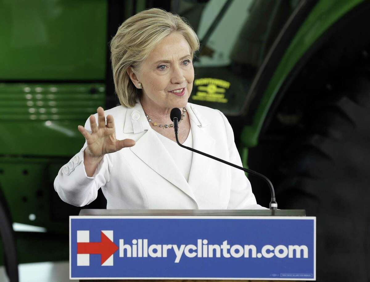In this Aug. 26 file photo, Democratic presidential candidate Hillary Rodham Clinton speaks in Ankeny, Iowa.