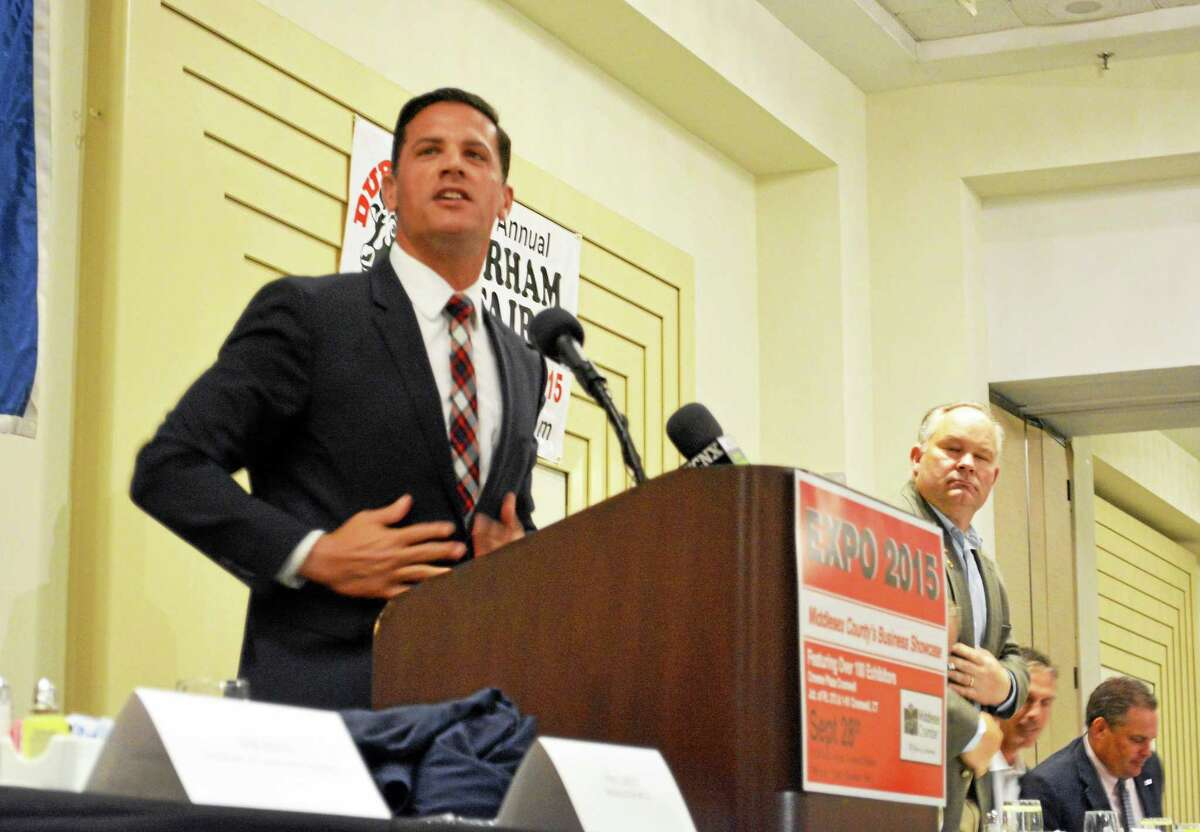 Bob Diaco, the head football coach for the University of Connecticut, spoke at the Middlesex County Chamber of Commerce breakfast Thursday in Cromwell.