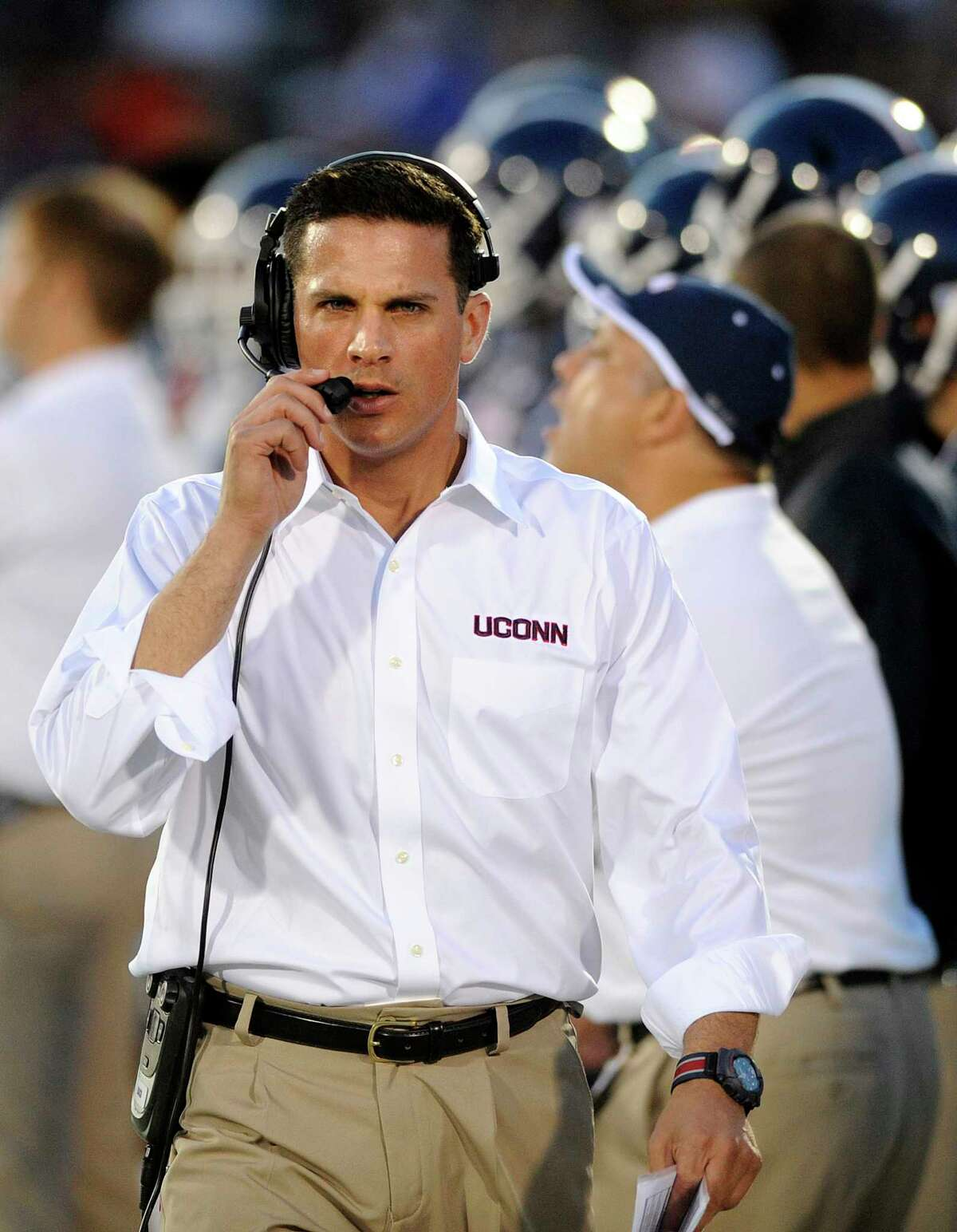 UConn head coach Bob Diaco looks on during the first half of the Huskies' 35-10 loss on Friday night at Rentschler Field in East Hartford.