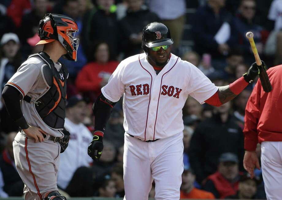 Red Sox DH David Ortiz throws his bat after being ejected from Sunday's game against the Baltimore Orioles in Boston. Photo: Steven Senne — The Associated Press  / AP