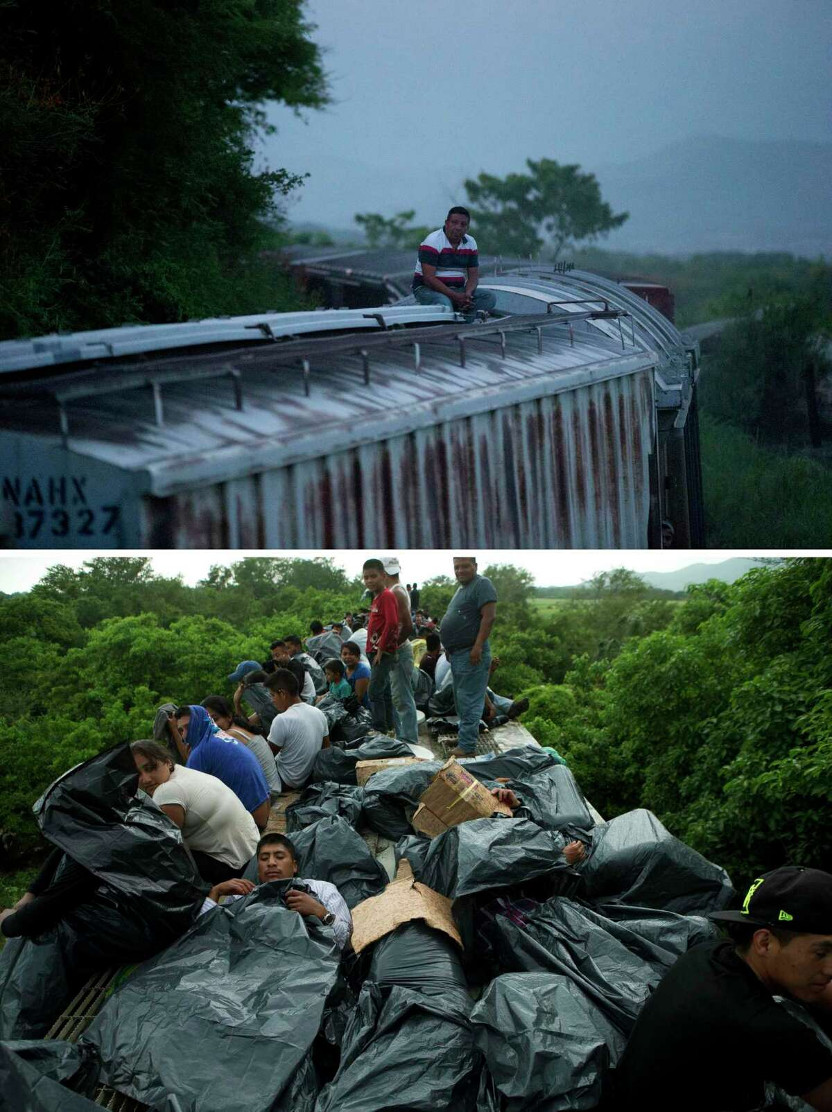 This combo of two pictures taken in 2014 in southern Mexico shows a lone Central American migrant riding a freight train heading north on Aug. 26 from Arriaga in Chiapas state, to Ixtepec in Oaxaca state, top picture, and a train full of Central American migrants near Reforma de Pineda, in Chiapas state on June 20. Mexico's largest crackdown in decades on illegal migration has decreased the flow of Central Americans trying to reach the United States, and has dramatically cut the number of child migrants and families, according to officials and eyewitness accounts along the perilous route. (AP Photo/Rebecca Blackwell)
