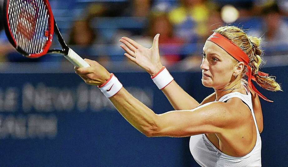 Petra Kvitova defeated Madison Keys 4-6, 6-1, 6-2 on Wednesday night at the Connecticut Open in New Haven. Photo: Catherine Avalone — Register  / Catherine Avalone/New Haven Register