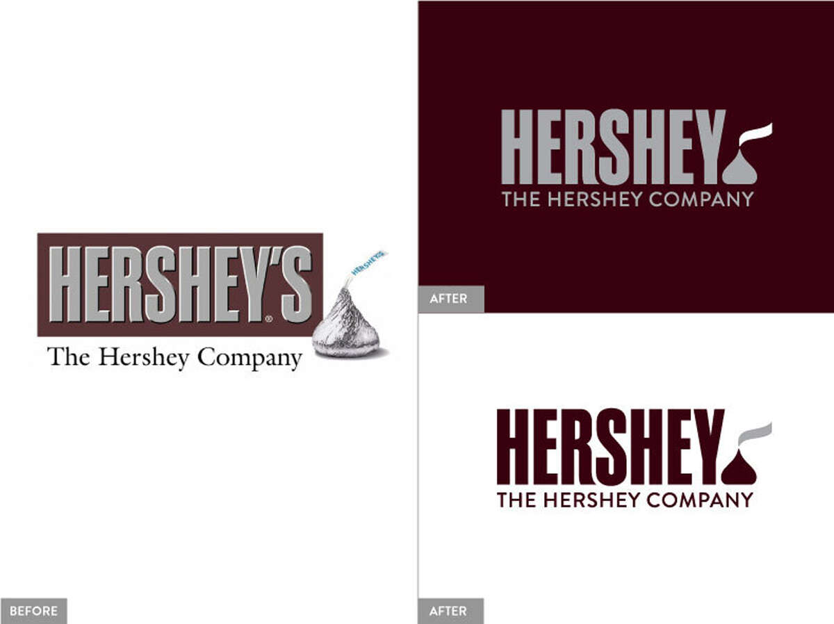 This image provided by The Hershey Company shows the company's old and new corporate logos. On Friday, Aug. 29, 2014, the candy maker announced a new design, which adds a Kisses chocolate at the end of the companyís name. (AP Photo/The Hershey Company)