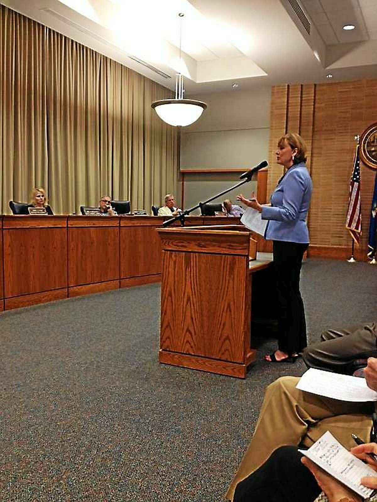 Middletown Superintendent of Schools Patricia Charles speaks to council members Tuesday evening about installing synthetic grass around the city.
