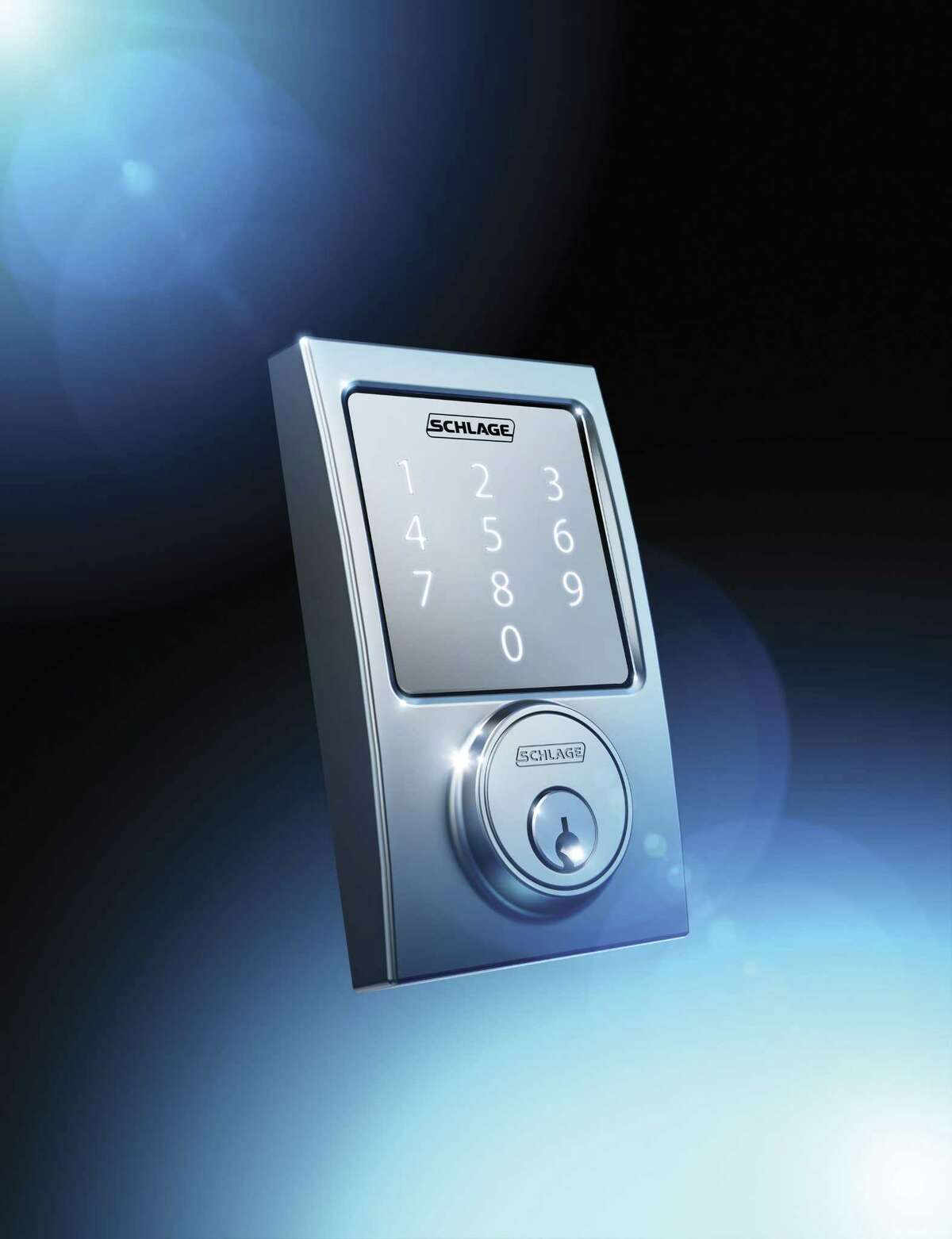 This photo provided by Schlage shows the companyís new keyless lock, Sense. The lock can be opened from either its touchscreen or a smartphone.