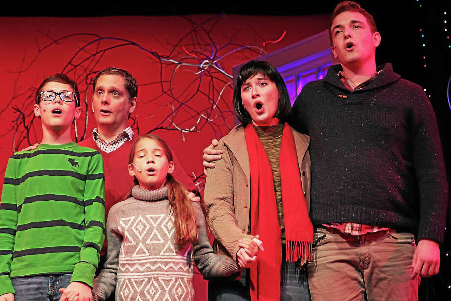 Photos by Anne HudsonFrom left, Elizabeth Swan, Mark Gilchrist, Melissa McLean, Amy Buckley and Michael Hotkowski rehearse for the Ivoryton Playhouse's holiday show, I'll be home for Christmas. Photo: Journal Register Co.