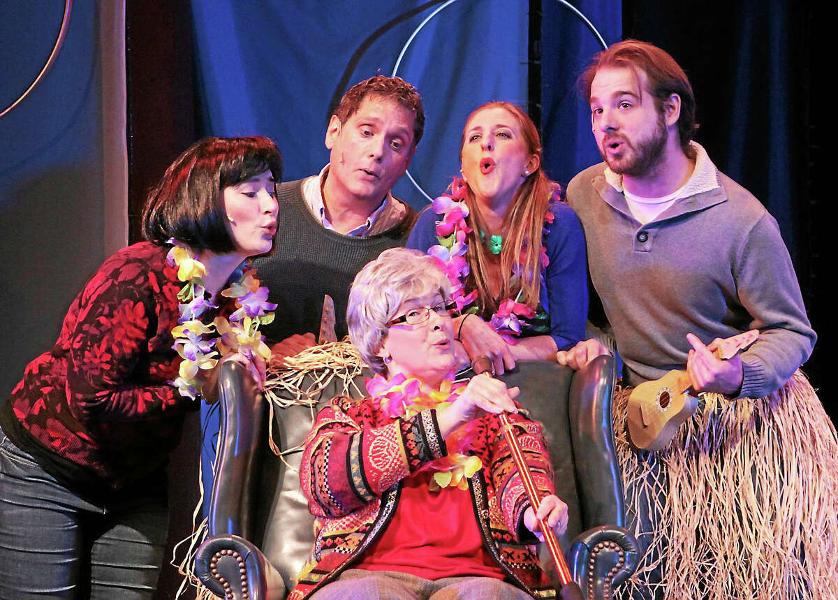 Photos by Anne HudsonCarson Waldron, Mark Gilchrist, Morgan Pill, Elizabeth Swan and Peter Garibaldi rehearse for I'll be Home for Christmas at the Ivoryton Playhouse.
