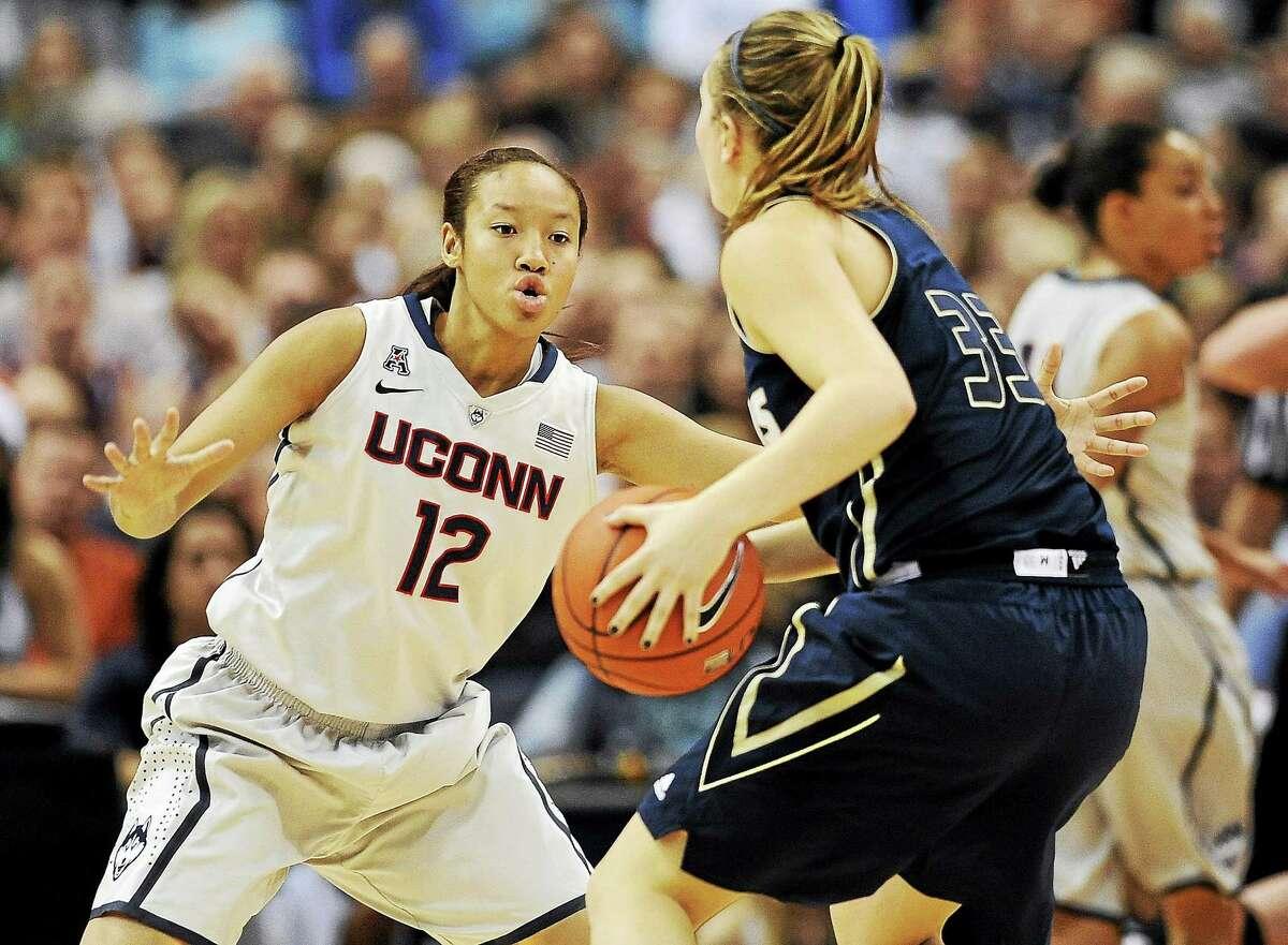 UConn's Saniya Chong defends during a game earlier this season.