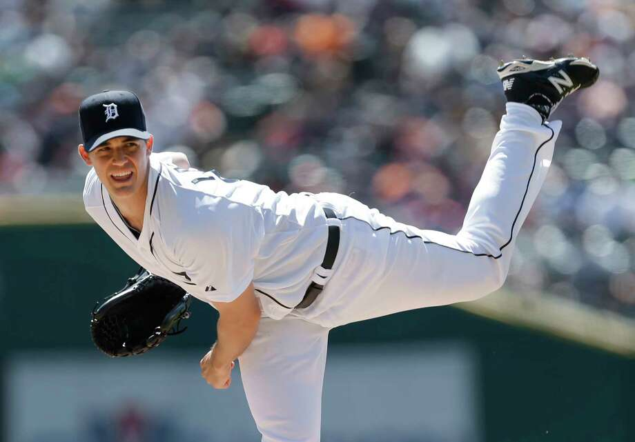 Tigers pitcher Kyle Lobstein throws against the New York Yankees in the first inning Thursday in Detroit. Photo: Paul Sancya — The Associated Press  / AP