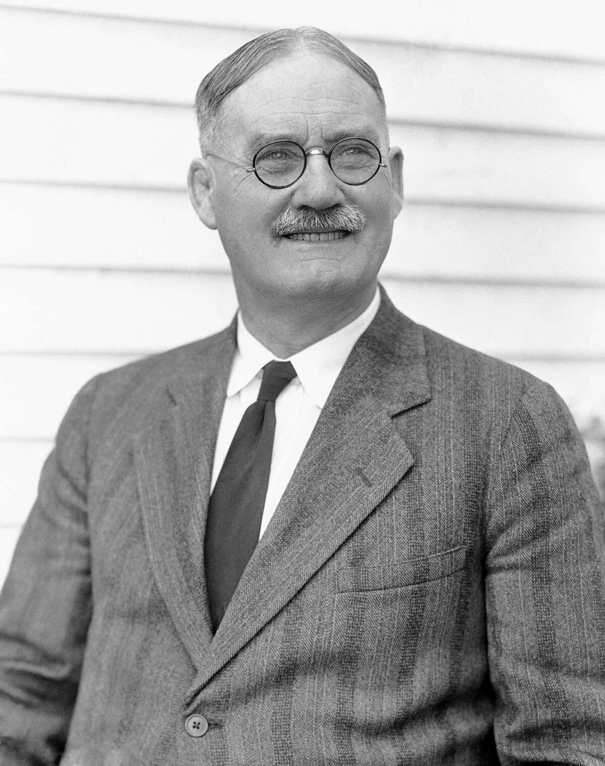 This is a 1939 file photo showing Dr. James Naismith, the inventor of basketball, in Lawrence, Kansas. A University of Kansas researcher has uncovered an audio recording of Naismith talking about setting up the first game in 1891 in Massachusetts. The school says the discovery is believed to be the only known recording of Naismith.