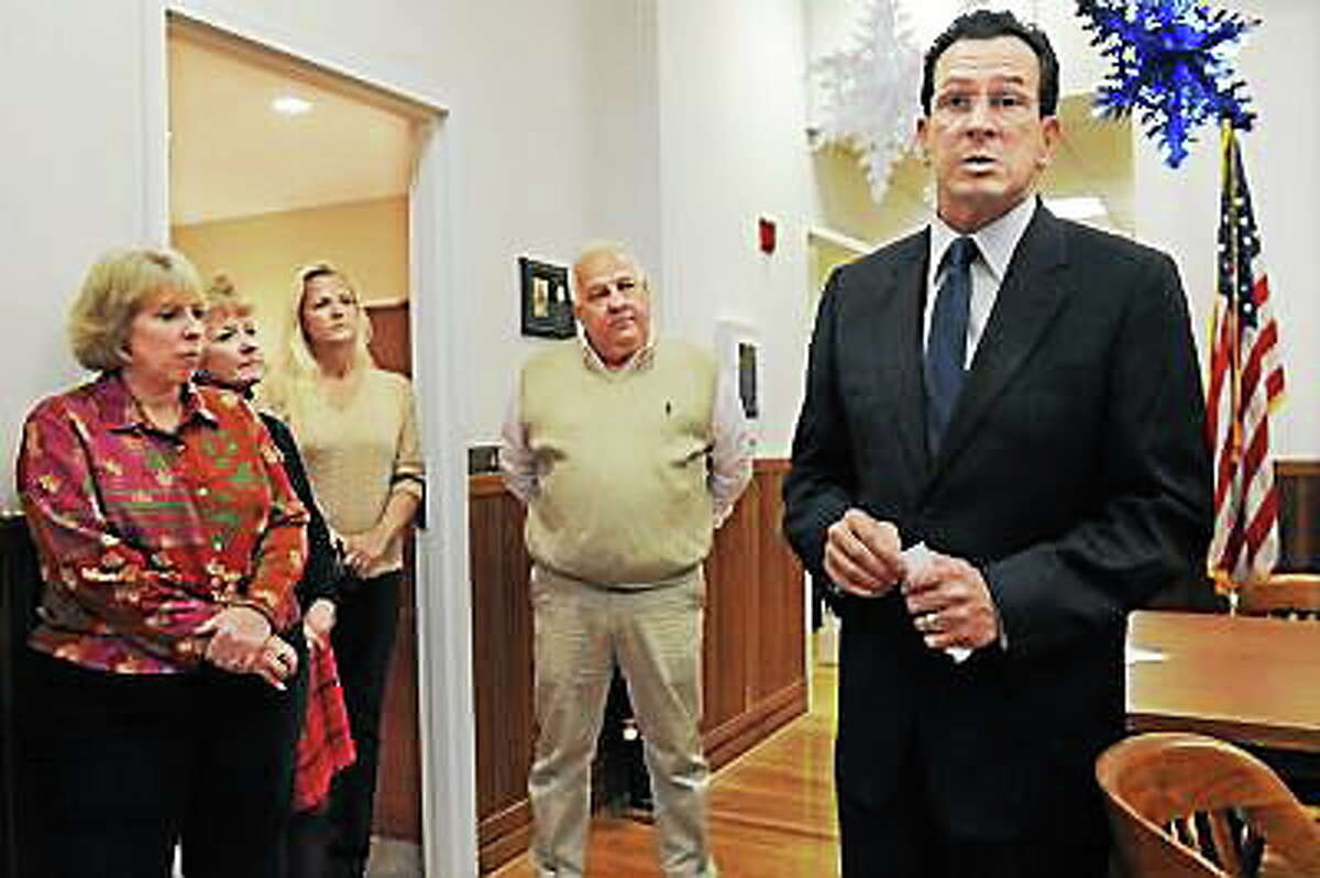 Catherine Avalone / The Middletown Press Deep River First Selectmen Dick Smith and Gov. Dannel P. Malloy
