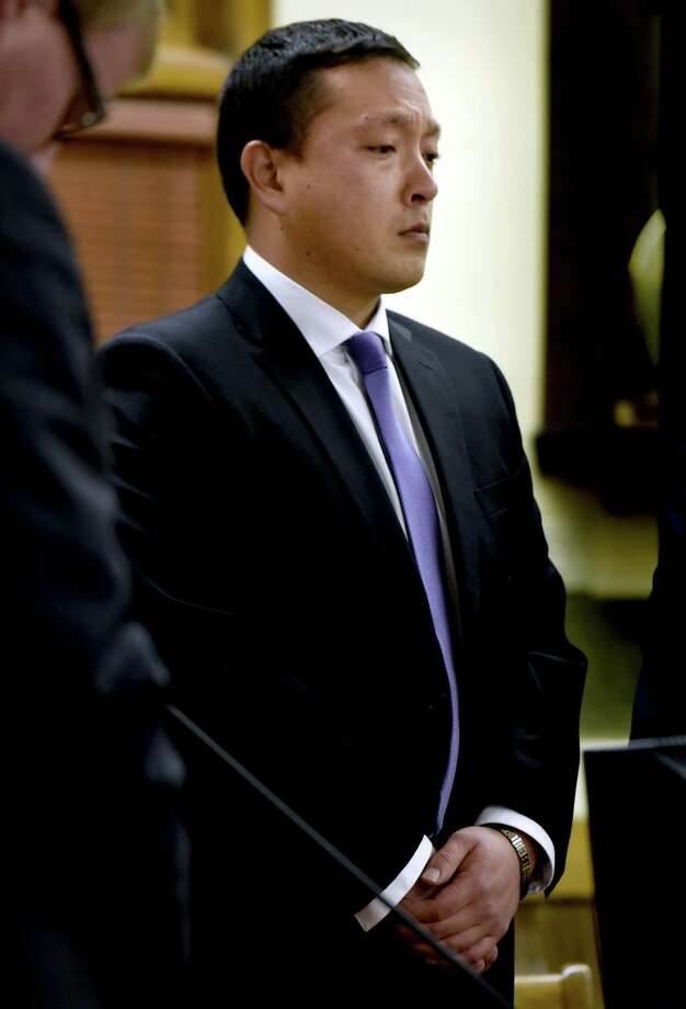 Markus Kaarma listens as a jury pronounces him guilty of deliberate homicide, Wednesday, Dec. 17, 2014, in Missoula County District Court in Missoula, Mont., in the shooting death of Diren Dede, a foreign exchange student from Germany who trespassed in to Kaarma's garage last spring.  He faces a minimum penalty of 10 years in prison when he is sentenced Feb. 11. His lawyers plan to appeal. (AP Photo/The Missoulian, Kurt Wilson) Photo: AP / The Missoulian