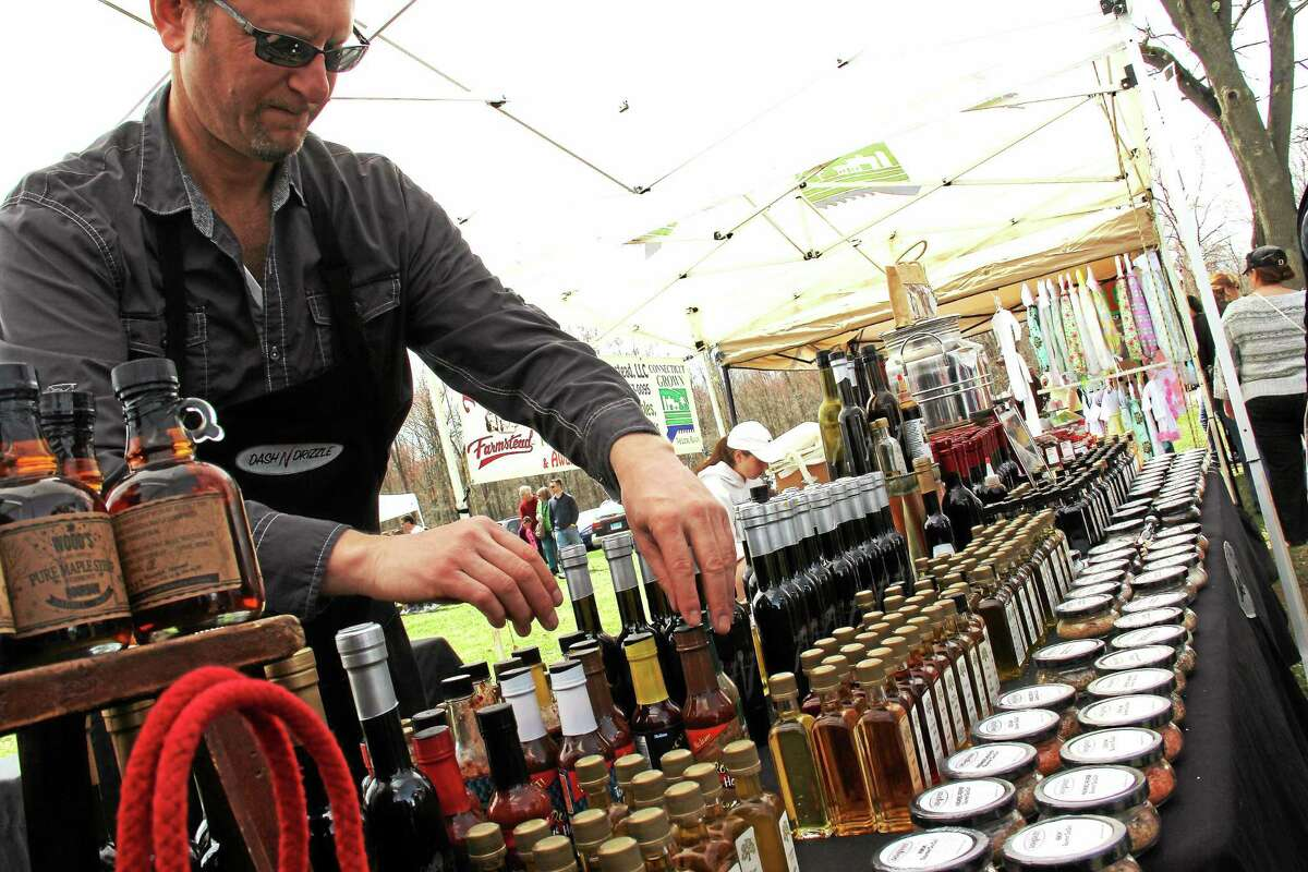 Dash N Drizzle, run by Jeff Love and Jeff Stein of Fairfield, was a popular spot for people sampling infused balsamic vinegars and olive oils at the first Made In Connecticut Expo, at the Durham Fairgrounds this past weekend.