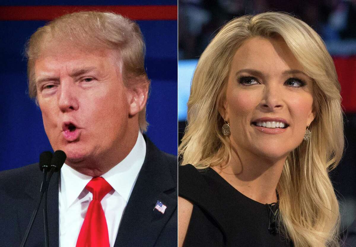 This file photo combination made from Aug. 6, 2015, photos shows Republican presidential candidate Donald Trump, left, and Fox News Channel host and moderator Megyn Kelly during the first Republican presidential debate at the Quicken Loans Arena, in Cleveland. Trump is welcoming Kelly back from a vacation with a broadside of criticism, tweeting that he liked her show better when she was away. Trump has been attacking Kelly ever since her tough questioning of him during the debate.