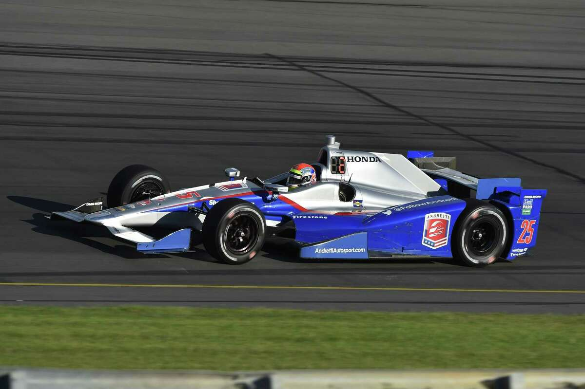 Justin Wilson drives during practice for Sunday's IndyCar 500 race.