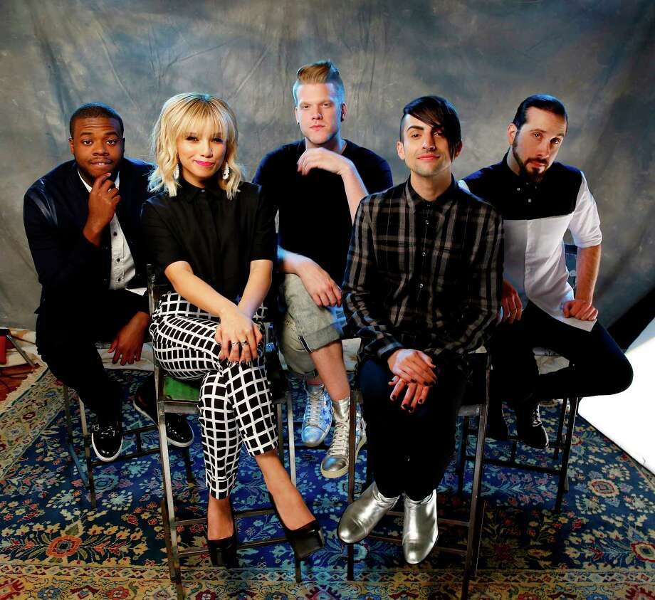 """FILE - In this Sept. 4, 2015 photo, Kevin Olusola, from left, Kristie Maldonado, Scott Hoying, Mitch Grassi and Avi Kaplan of the group Pentatonix pose for a portrait at Sony Music Nashville in Nashville, Tenn. Pentatonix, Macklemore and Ryan Lewis, Nick Jonas and OMI will be ringing in the New Year from Hollywood for """"Dick Clark's New Year's Rockin' Eve."""" ABC announced on Tuesday, Dec. 15, the final performers for the Billboard Hollywood Party, which will also include Alessia Cara, DNCE and Nathan Sykes. (Photo by Donn Jones/Invision/AP, File) Photo: Donn Jones/Invision/AP / Invision"""