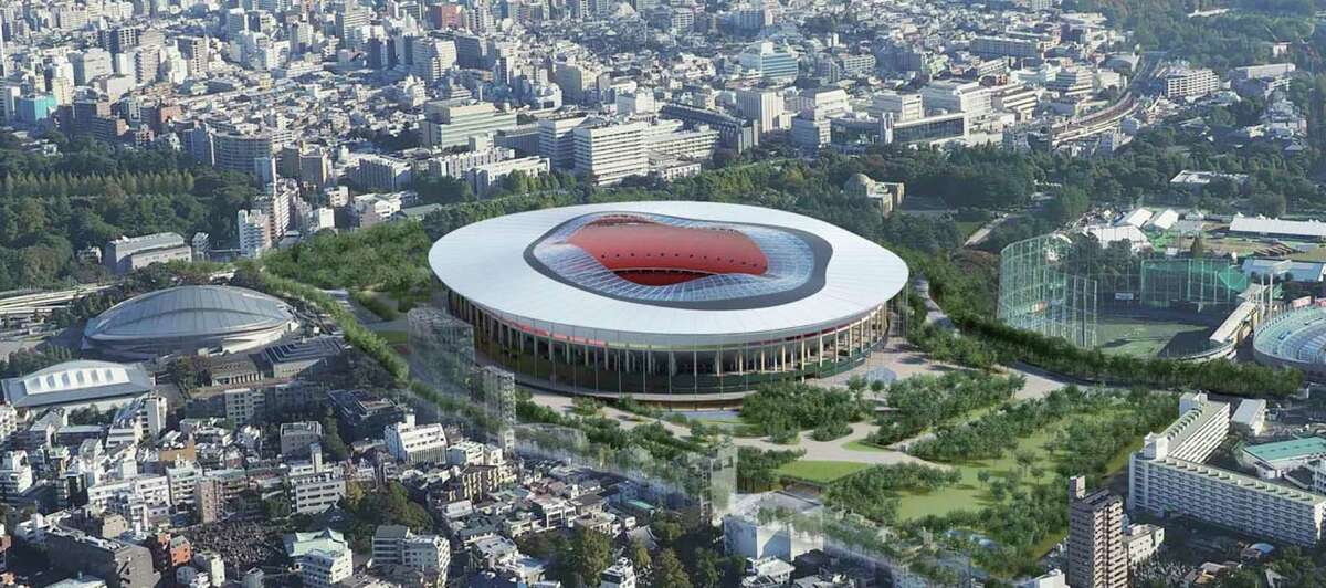 """This artist rendering provided by the Japan Sports Council on Dec. 14, 2015 shows Design """"A"""" proposed by one of two groups competing to build the new Tokyo Olympic stadium. The Japan Sports Council designs said the winner will be chosen this month."""