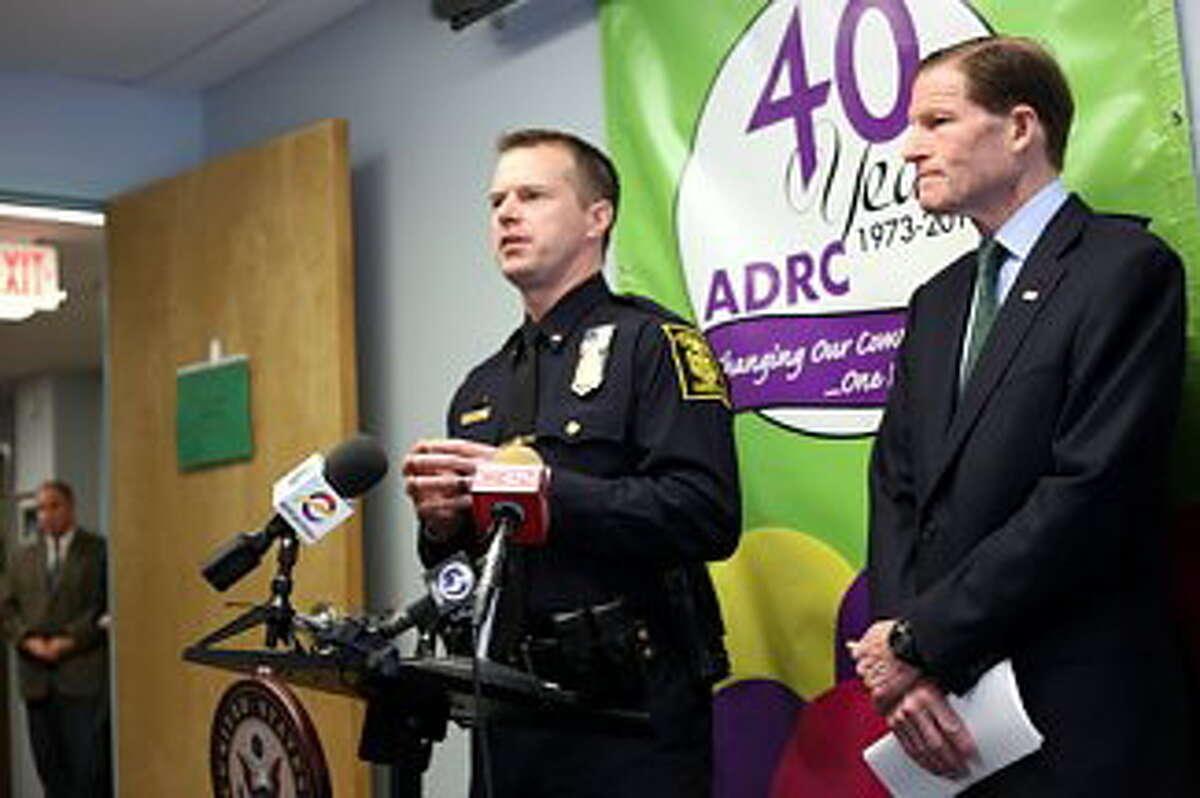 Hartford Police Lt. Brian Foley and U.S. Sen. Richard Blumenthal.