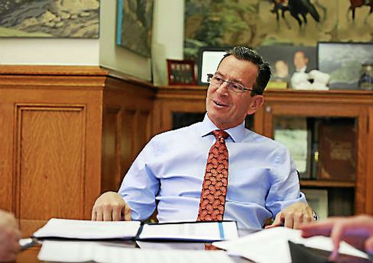 Gov. Dannel P. Malloy during the editorial board meeting in his office.