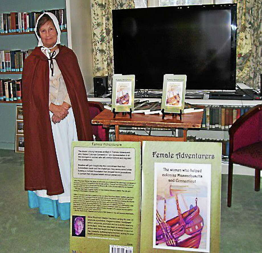 Alice Plouchard Stelzer, the author of Female Adventurers, takes on the character of Mehetable to teach the community about the lives of 17th-century Puritan women. Photo: Submitted Photo