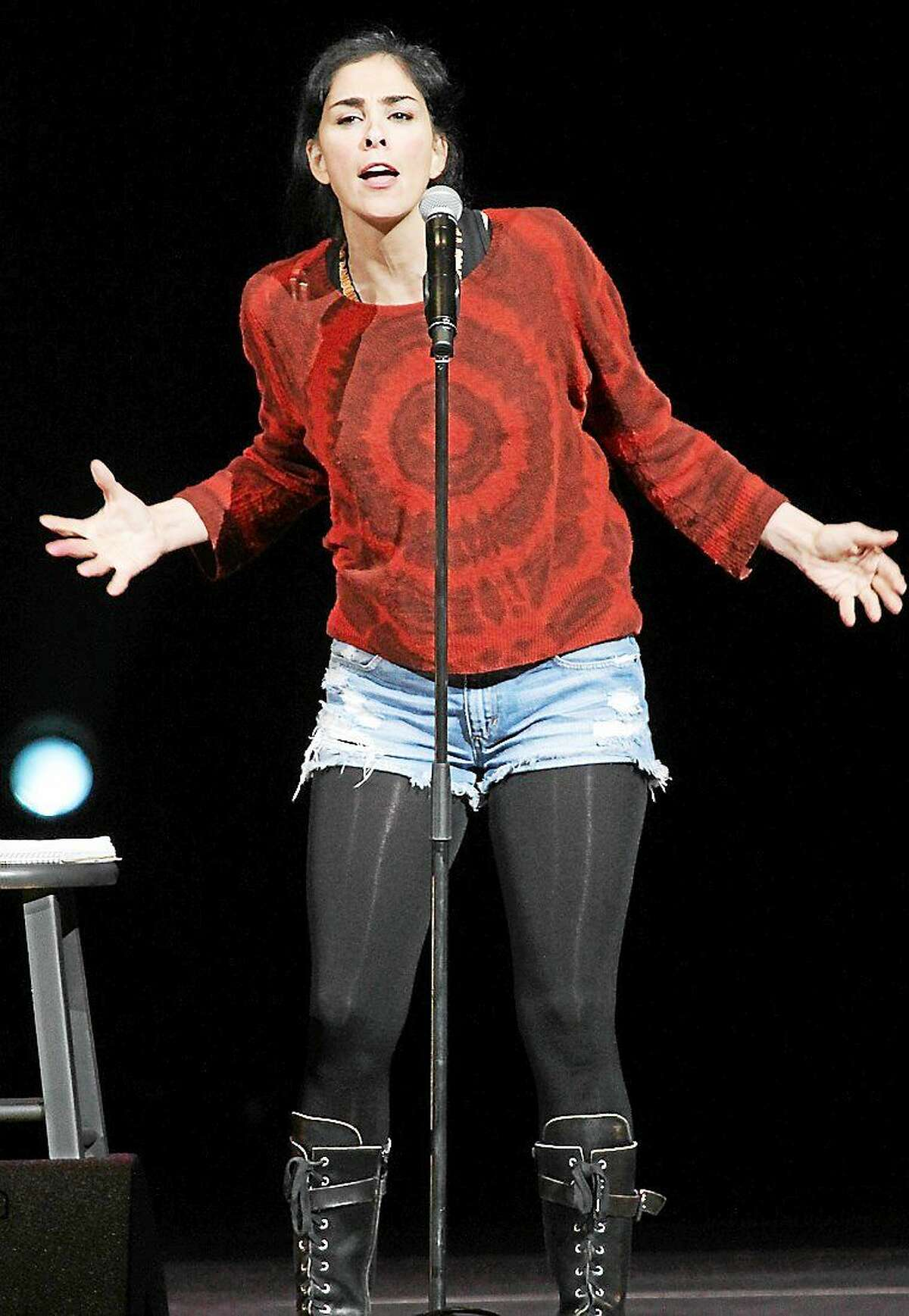 Photo by John Atashian Comedian and writer Sarah Silverman on stage at the Xfinity Theater during her stand-up act at the Oddball Comedy Festival Aug. 23.