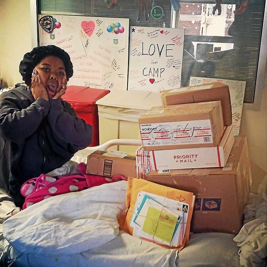Navaiah Fulk, 14, of Middletown is overjoyed to receive care packages to boost her spirits after the teen underwent transplant surgery for the second time on Dec. 5. Photo: Courtesy Kailani Gadlin