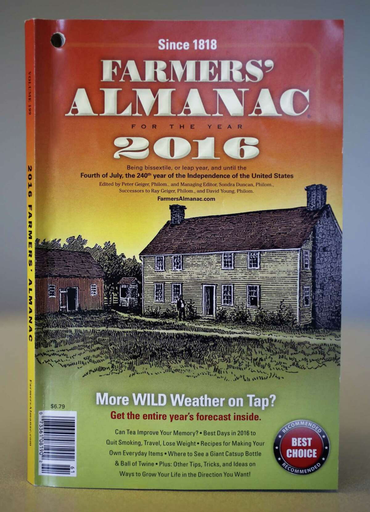 A copy of the 2016 Farmers' Almanac, photographed in Portland, Maine on Aug. 14, 2015.